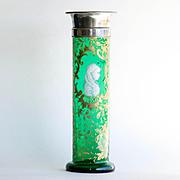 Circa 1870 Victorian Enameled Emerald Green Portrait Vase