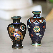 Two Antique Japanese Miniature Cloisonné Vases