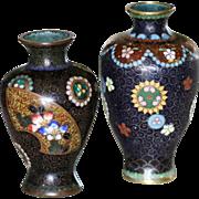 Two Antique Japanese Miniature Cloisonné Vases