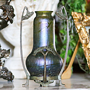 Circa 1890 Antique Loetz Vase In Metal Armature