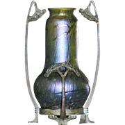 Circa 1890 Antique Loetz Vase In Metal Armature