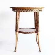 Circa 1890 Antique Oak & Wicker Parlor Table