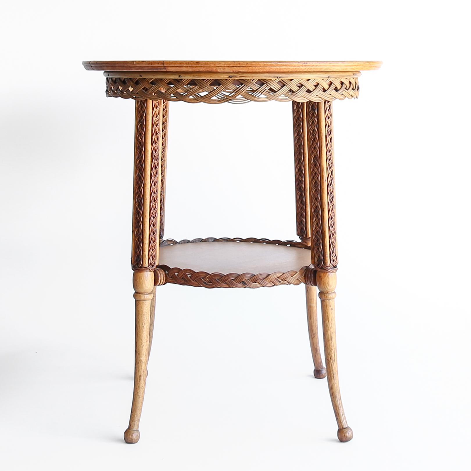 Circa 1890 Antique Oak Amp Wicker Parlor Table From The