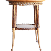 Circa 1890 Antique Oak & Wicker Parlor Table
