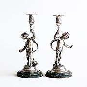 Charming Pair Of Art Nouveau Figural Cherub Candle Sticks
