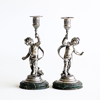 Charming Pair Of Art Nouveau Figural Cherub Candle Sticks