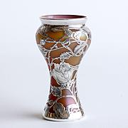 Circa 1890 Amazing Loetz Silver Overlay Vase