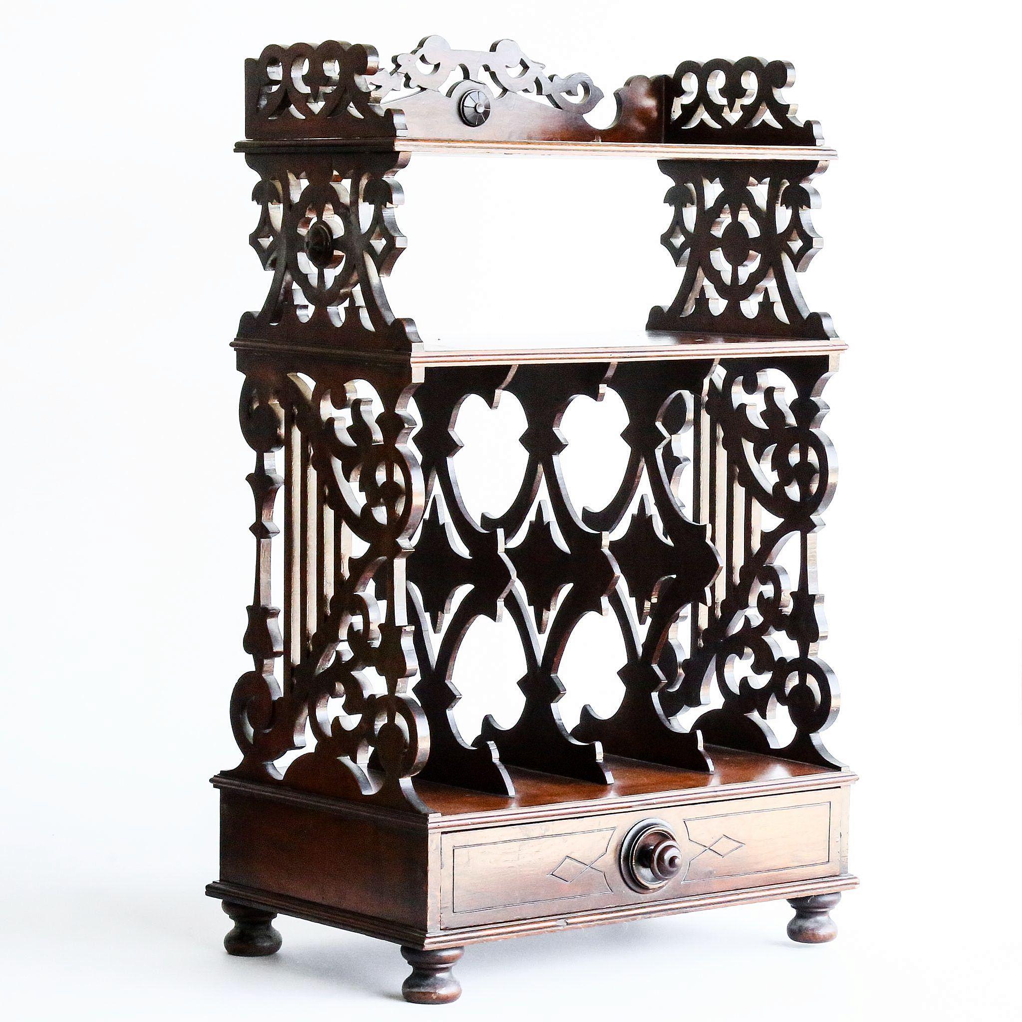 Circa 1870 Antique Victorian Walnut Cantebury