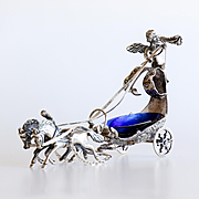Ornate Vintage Sterling Silver Salt With Horses & Cherub