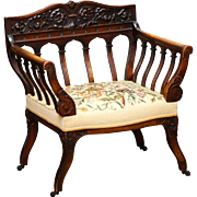 Circa 1880 Carved Antique Victorian Needlepoint Arm Chair