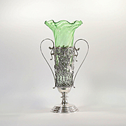 Circa 1900 Art Nouveau Jugendstil Vase In Metal Armature