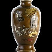 Antique Circa 1890 Japanese Multi-Metal Bronze Vase