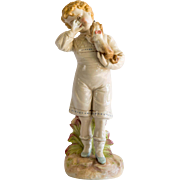 Circa 1890 Royal Rudolstadt Porcelain Figurine Of Boy & Dog