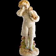 Circa 1890 Royal Rudolstadt Porcelain Figurine Of Boy & Dog