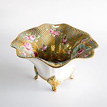 Circa 1885 Nippon Coralene Footed Bowl