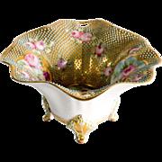 Circa 1885 Nippon Coralene Footed Bowl