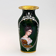 Antique Museum Quality Limoges Enameled Portrait Vase