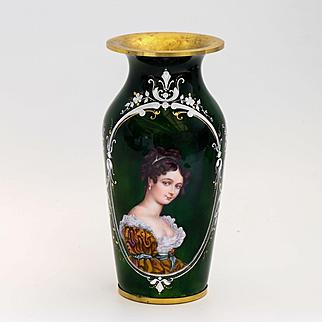 Antique Museum Quality Limoges Enameled Portrait Vase