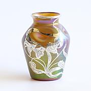 Circa 1890 Loetz Silver Overlay Iridescent Vase