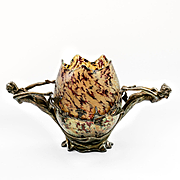 Rare Circa 1890 Kralik Iridescent Bowl In Figural Metal Armature