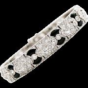 Beautiful Art Deco Lady's 18K Diamond & Onyx Bracelet