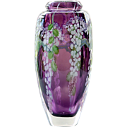 Signed Daniel Salazar Lundberg Art Glass Paperweight Vase