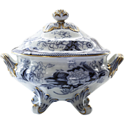 Circa 1860 Flow Blue Tureen By Morley & Ashworth