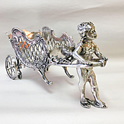 Circa 1890 Art Nouveau Ornate Silver Plate Cherub Carriage