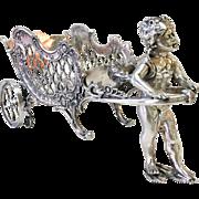 Circa 1890 Art Nouveau Ornate Silver Plate Cherub Carriage