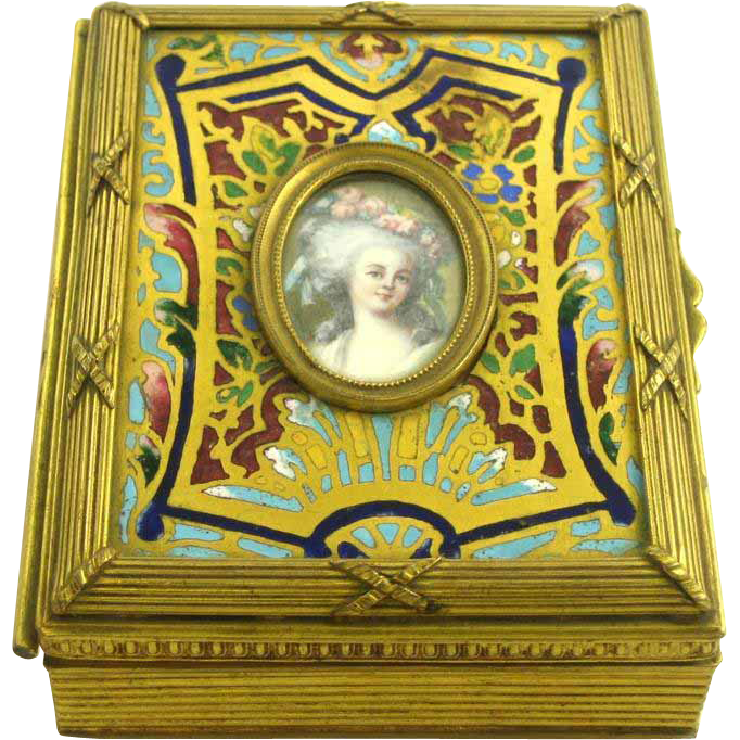 19th  Century French Champleve Portrait Box Of Marie Therese Louise Of Savoy Carignan