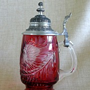 Vintage Cranberry Glass Stein With Overall Cut Thistle Design