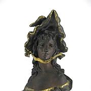 Art Nouveau Bronzed Artist Signed Bust Of Elegant Lady