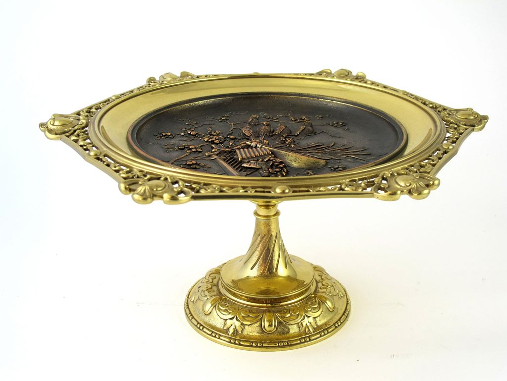 Circa 1880 Ornate Victorian Brass & Bronze Raised Plateau With Birds & Musical Instruments