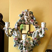 Rare Ornate Circa 1920 Sitzendorf German Porcelain Mirrored Candle Sconce With Figural Cherubs