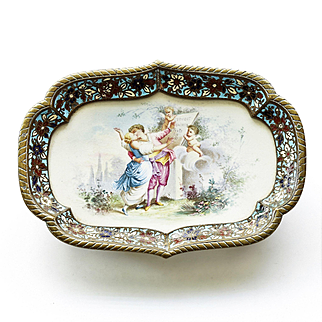 Circa 1880 French Bronze Champleve Porcelain Tray