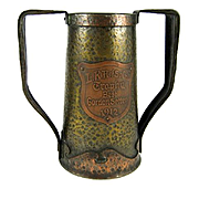 Rare Dated 1912 Arts & Crafts Hand Hammered Dog Trophy