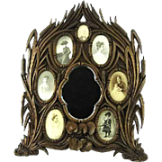 Fantastic 19th Century Carved Black Forest Bavarian Mirrored Picture Frame