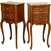 Pair Of Circa 1920's Carved Walnut Night Stands