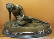 Victorian Era Bronze Of Fallen Warrior