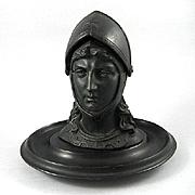 Victorian Figural Knight's Head Inkwell