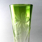 Large Vintage Moser Clear To Green Intaglio Cut Vase