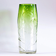 Fabulous Large Vintage Moser Clear To Green Intaglio Cut Vase