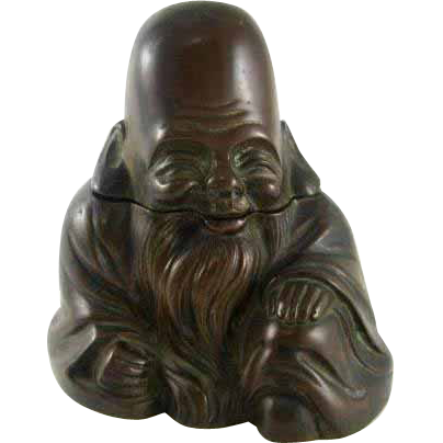 Victorian Chinese Bronze Emperor Figural Inkwell