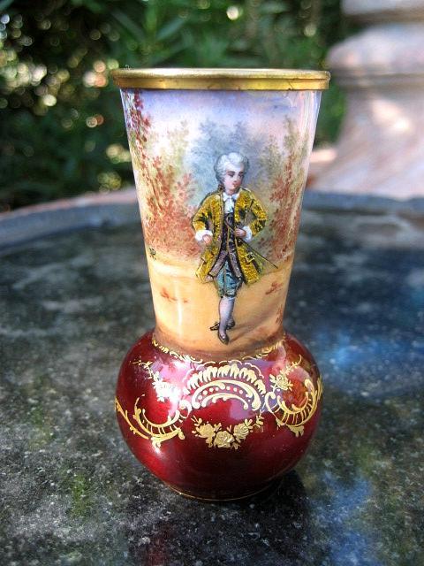 Rare Circa 1880 Miniature French Foil Enameled Figural Vase