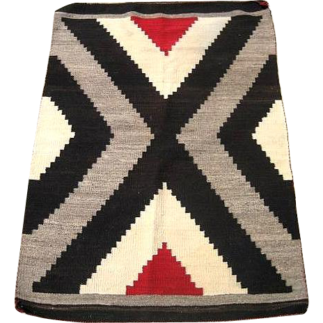 Vintage Circa 1900 Navajo American Indian Rug From The