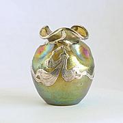 Elegant Circa 1890 Loetz Sterling Silver Overlay Cabinet Vase