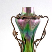 Exceptional Circa 1890 Jugendstil  Loetz Vase In Metal Art Nouveau Armature
