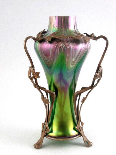 Exceptional Circa 1890 Jugendstil  Loetz Vase In Metal Art Nouveau Armature
