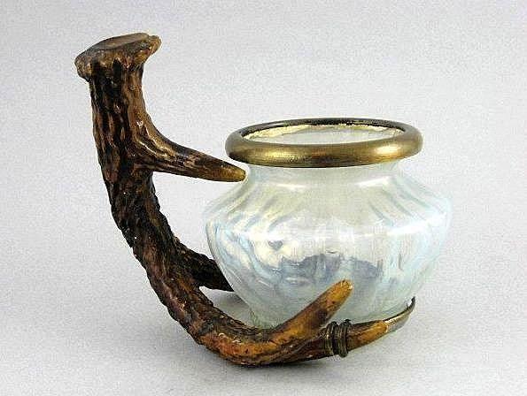 Art Nouveau Jegendstil Loetz Bowl In Horn Frame