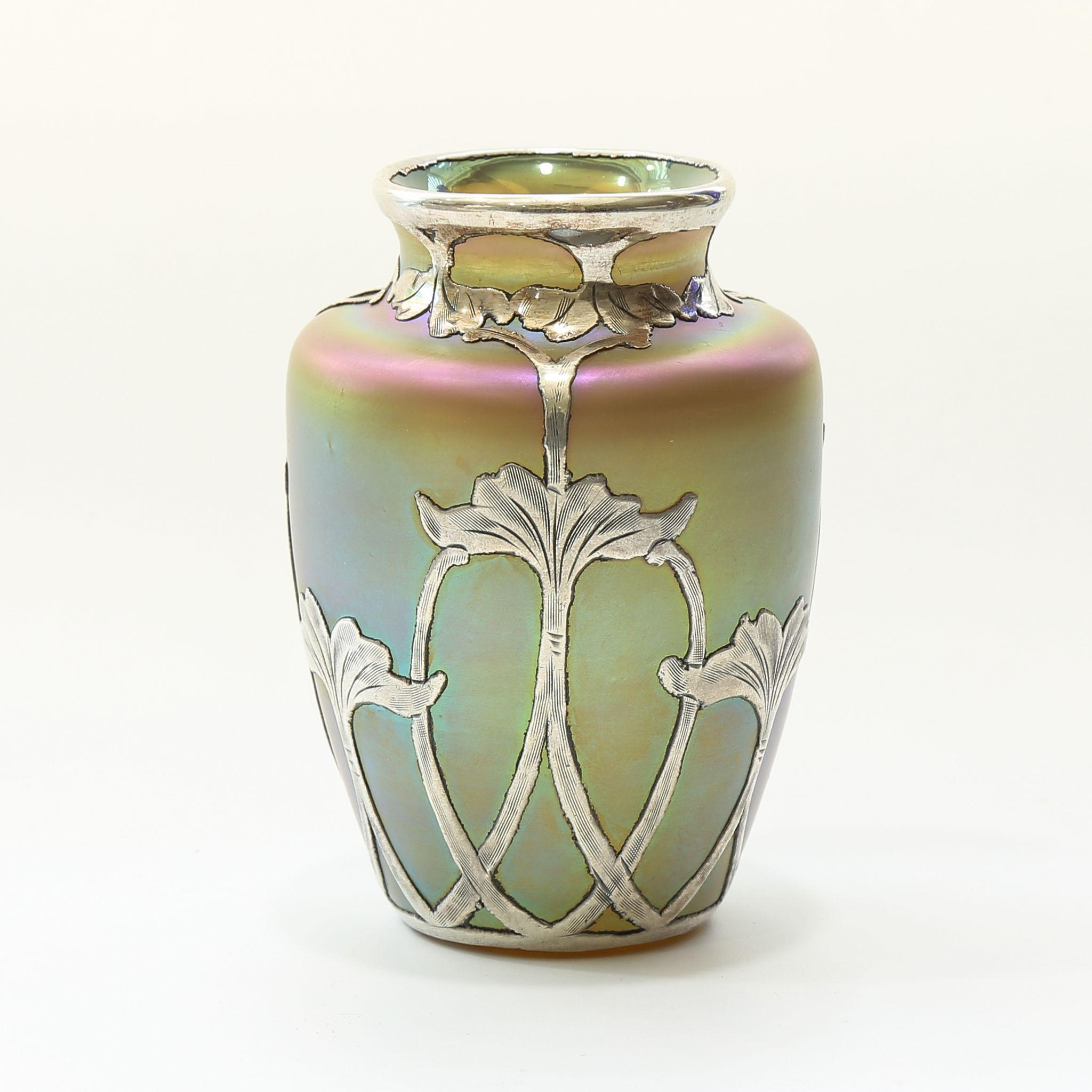 Circa 1900 Loetz Silver Overlay Vase